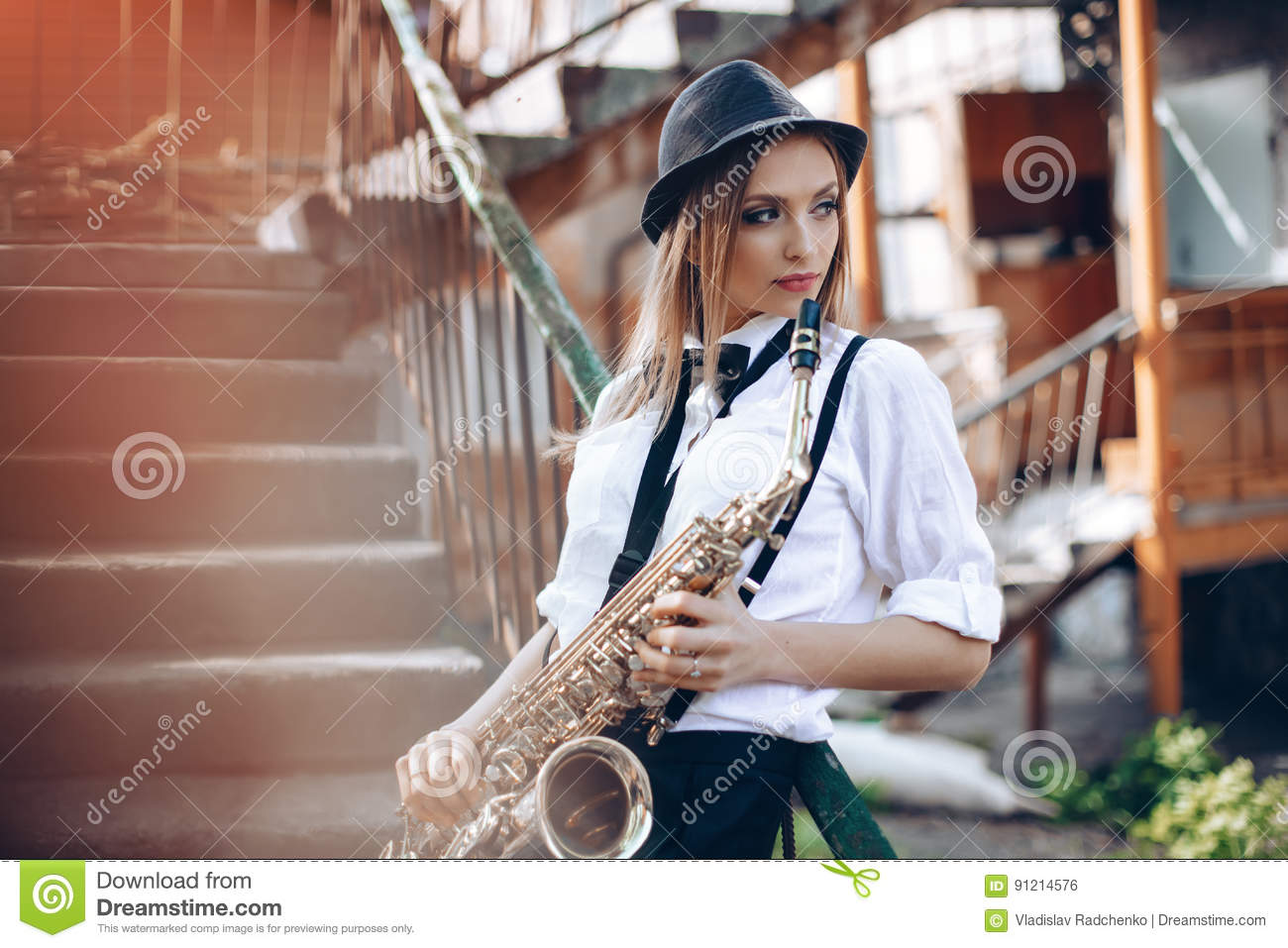 Young Attractive Girl In White Shirt With A Saxophone -8881