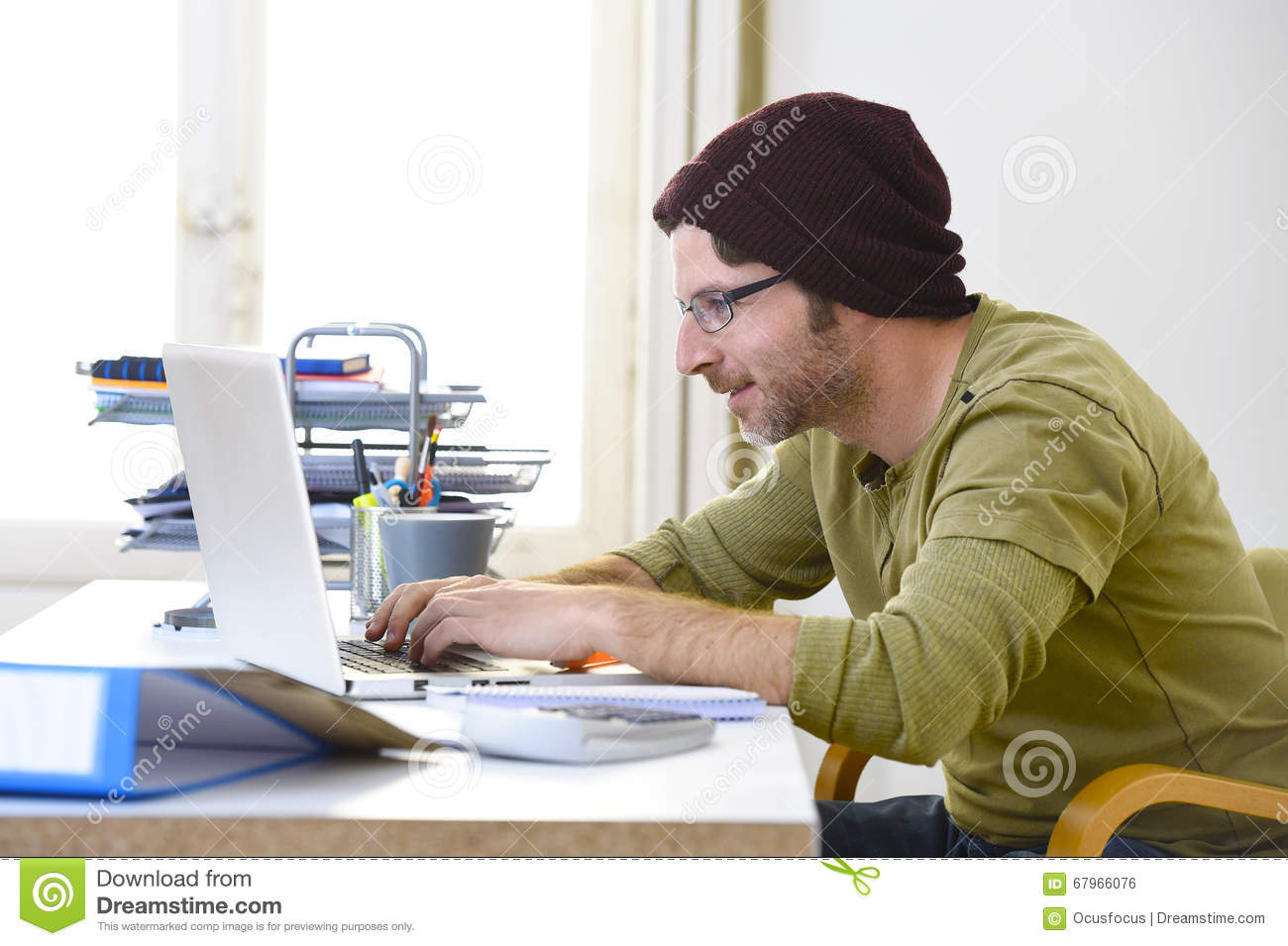 business businessman computer concept corporate creative employed freelancer happy hipster home laptop modern office portrait self worker working