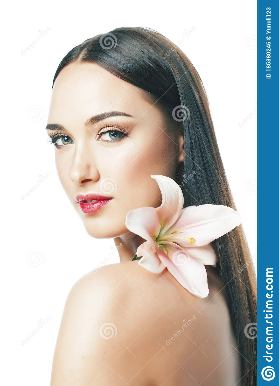 Closeup Portrait Of Beautiful Young Woman With Clean And