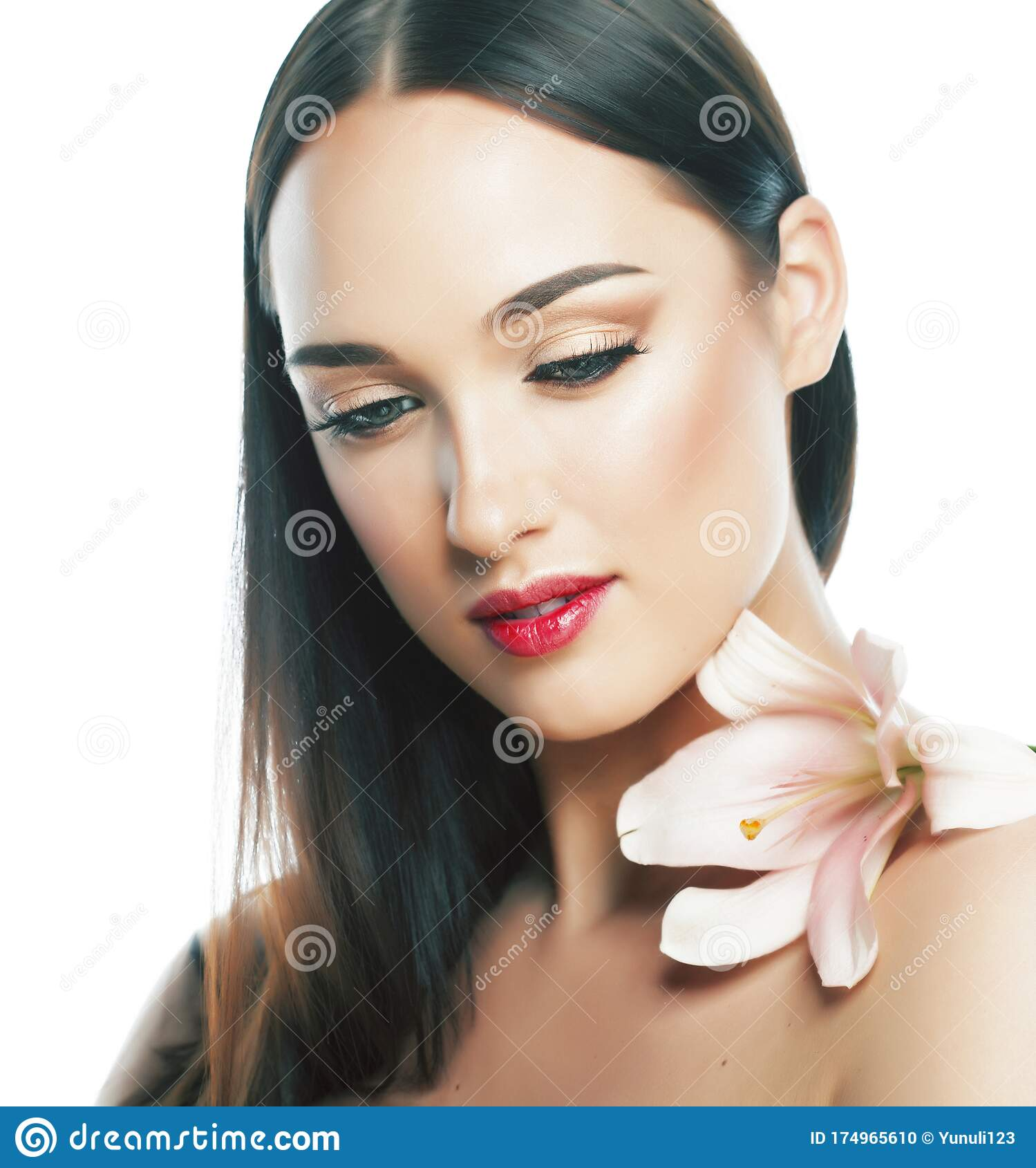 Pretty Woman With Nude Makeup. Spa And Health Care Stock