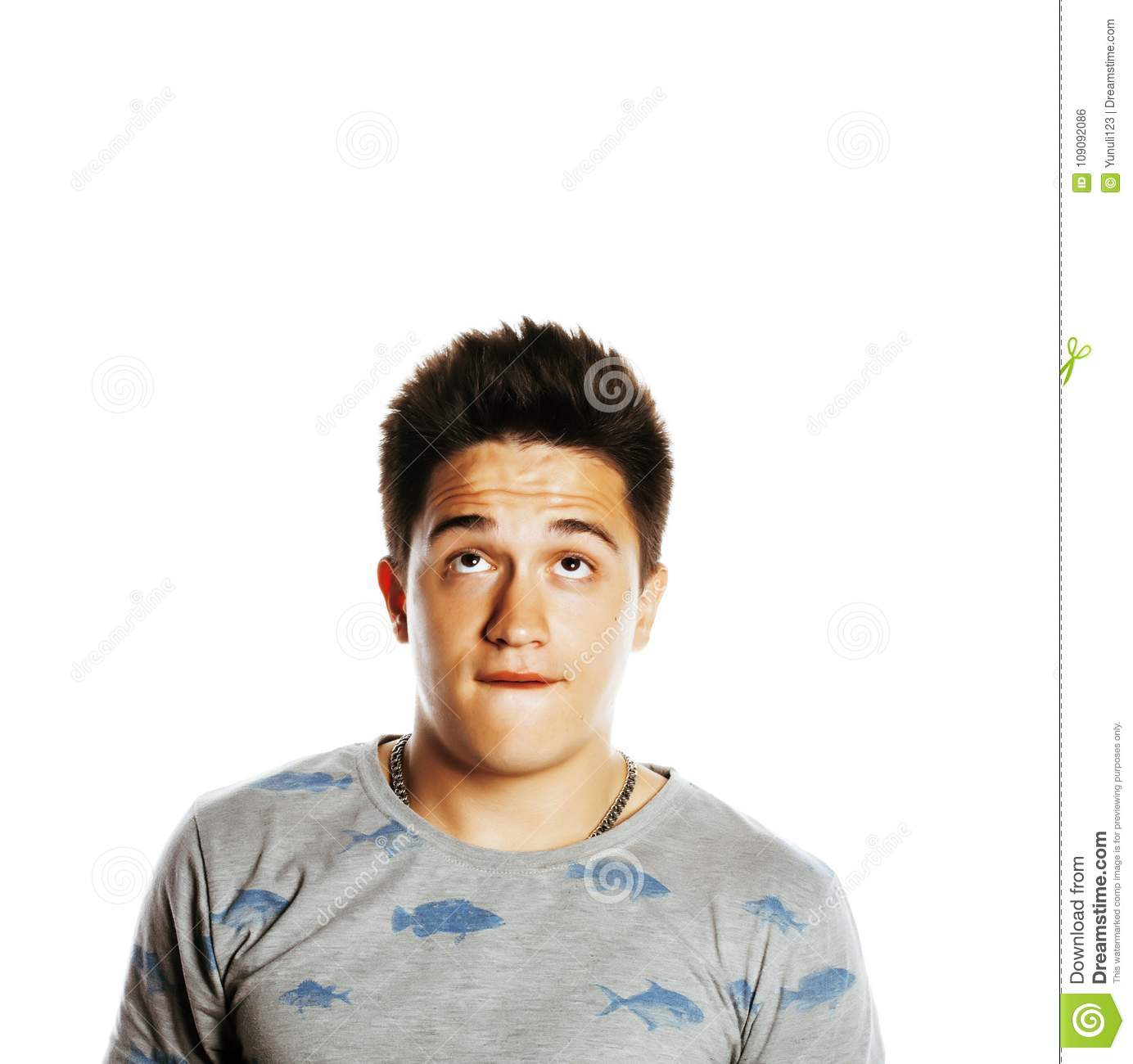 young attractive man isolated thinking emotional on white stock
