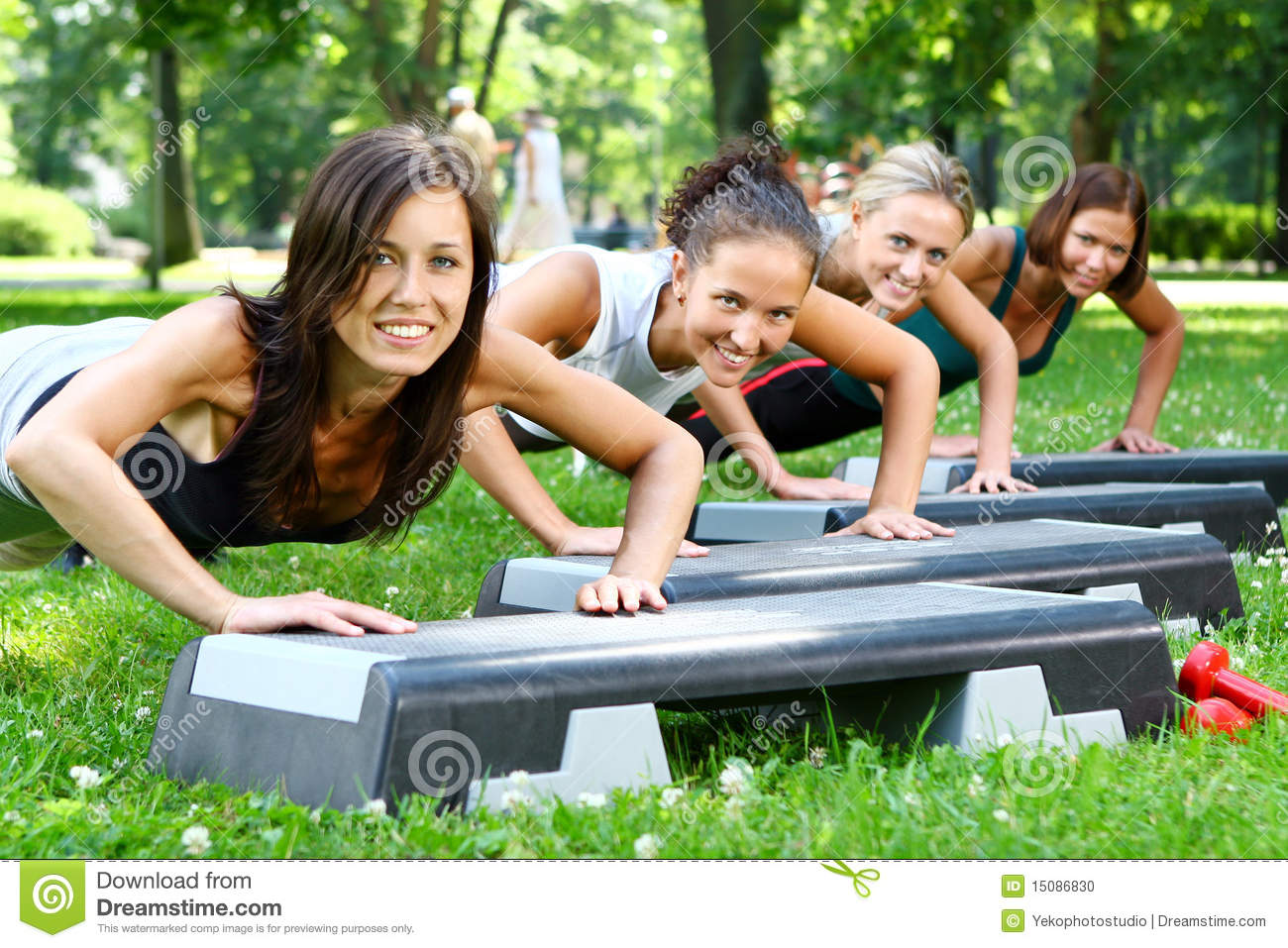Young and attractive people doing fitness