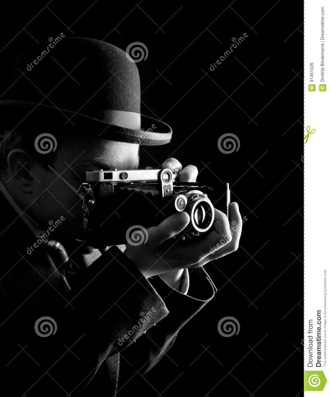Download Young And Attractive Photographer In Vintage Suit And With Retro Photo Camera. Stock Photo - Image of isolated, male: 91461526