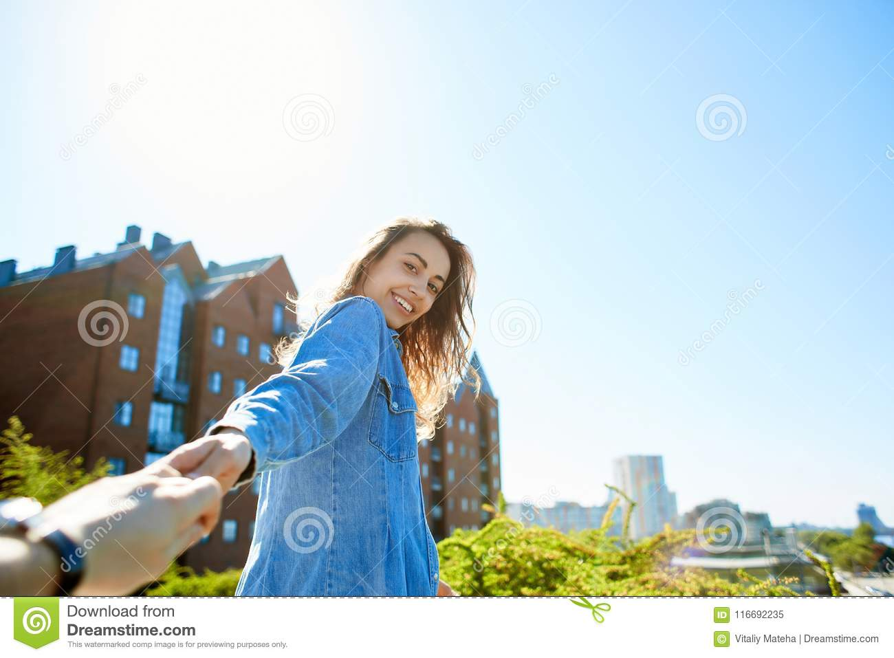 Young Attractive Woman On The City Scape Background Stock