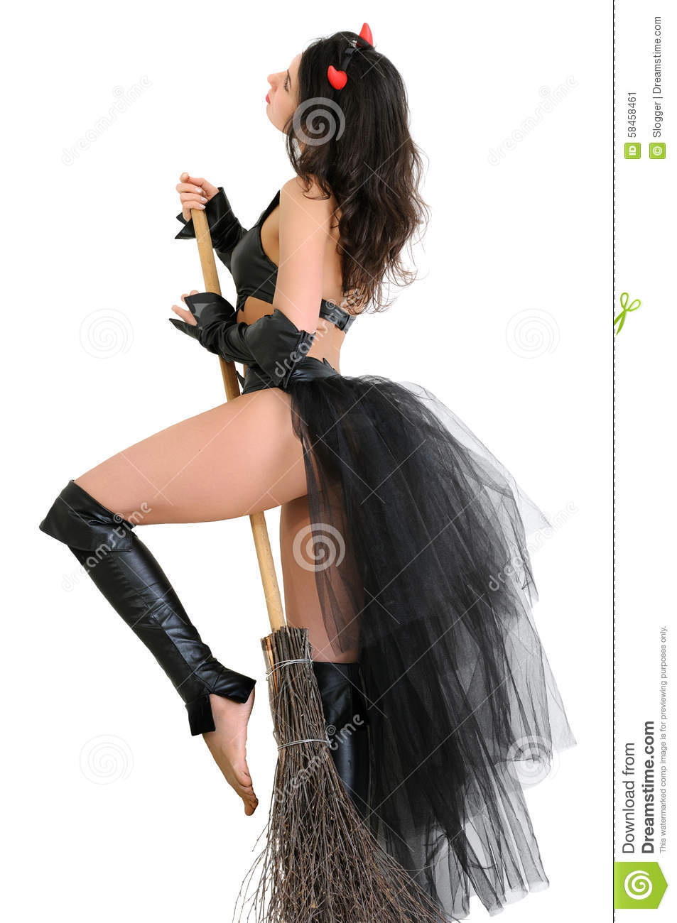 Young Attractive Woman In Witch Costume With Broom Stock Photo ...