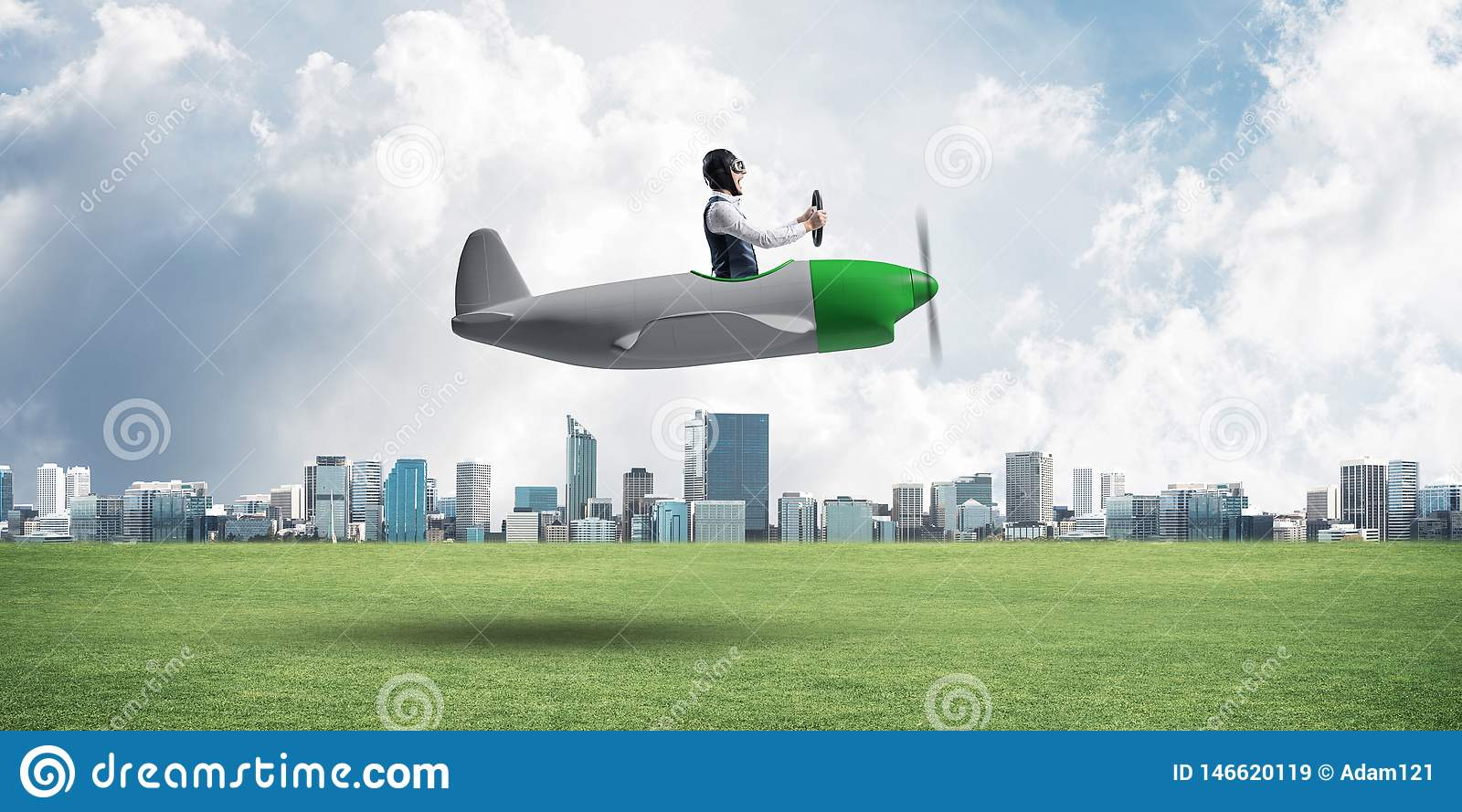 Young aviator driving small propeller plane