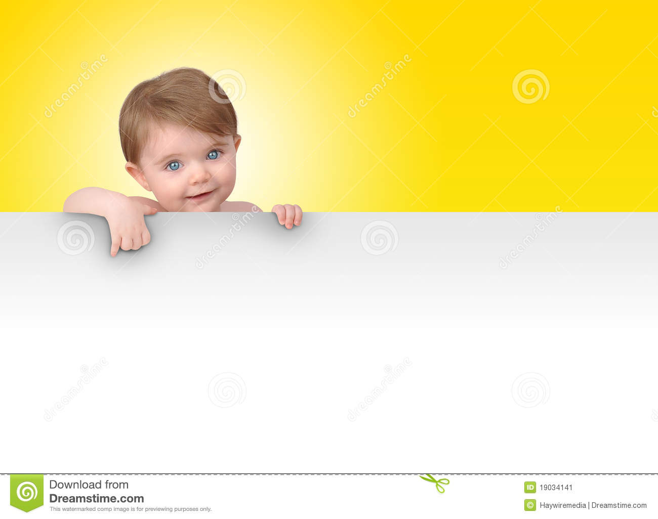 Young Baby Holding Blank Sign Message Stock Image Image
