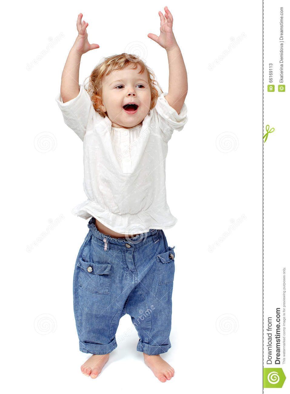 Young Baby Standing Indoors Applauding And Smiling Stock ...