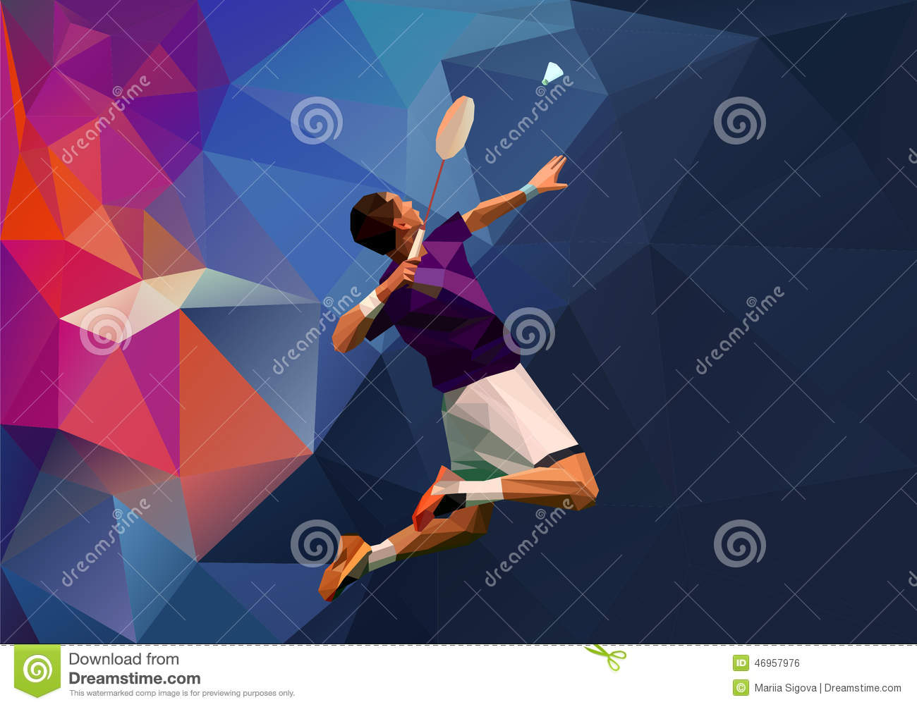 Young Badminton Player During Smash Stock Vector Image