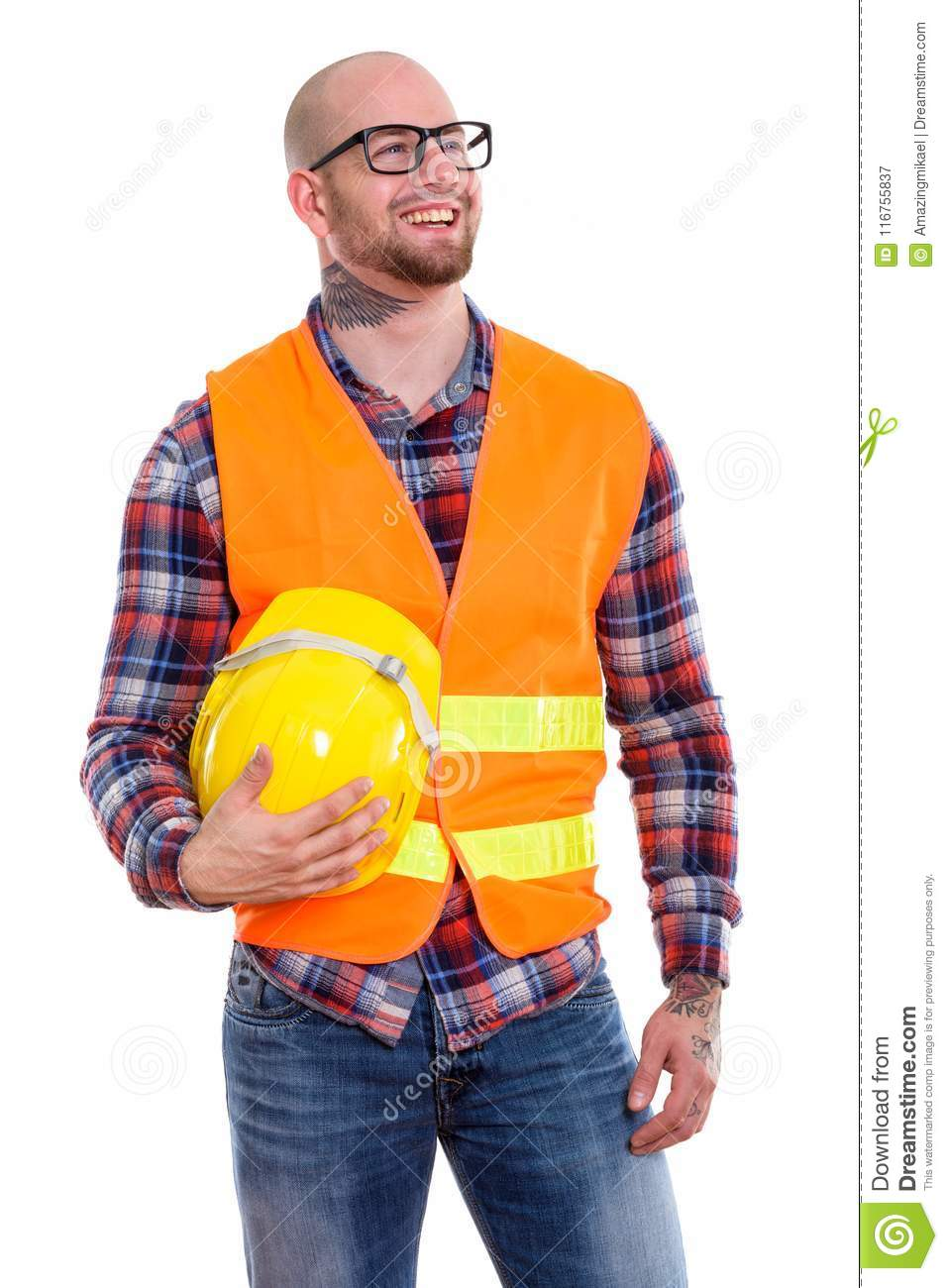 Young bald muscular man construction worker