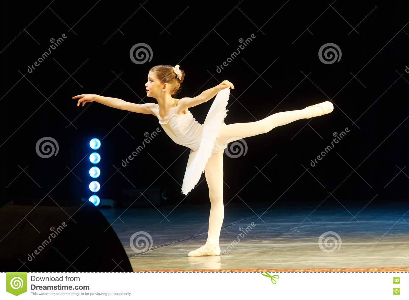 Download Young Ballerina Girl Dancing On Stage Editorial Photo