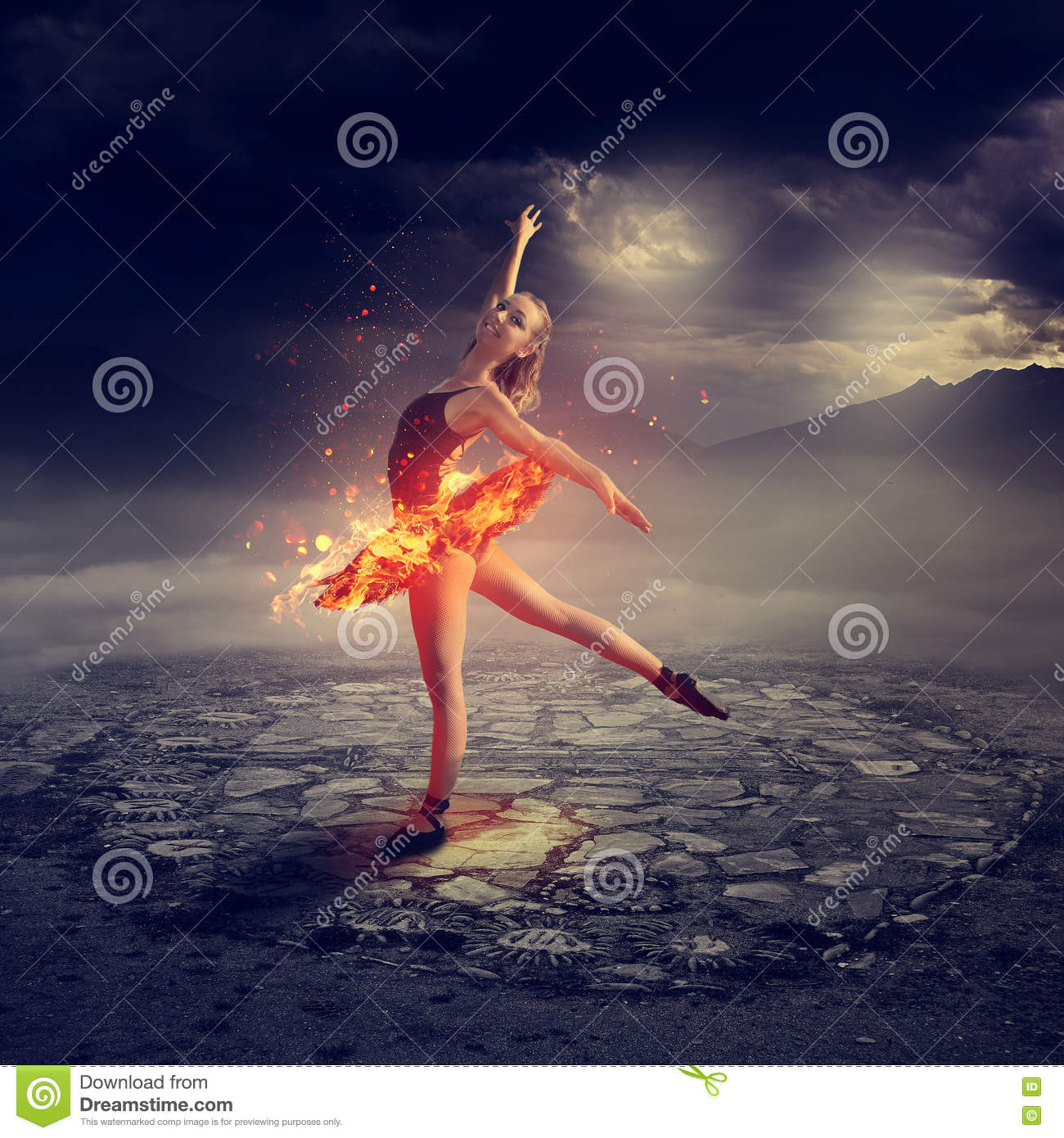 Young ballet dancer on fire