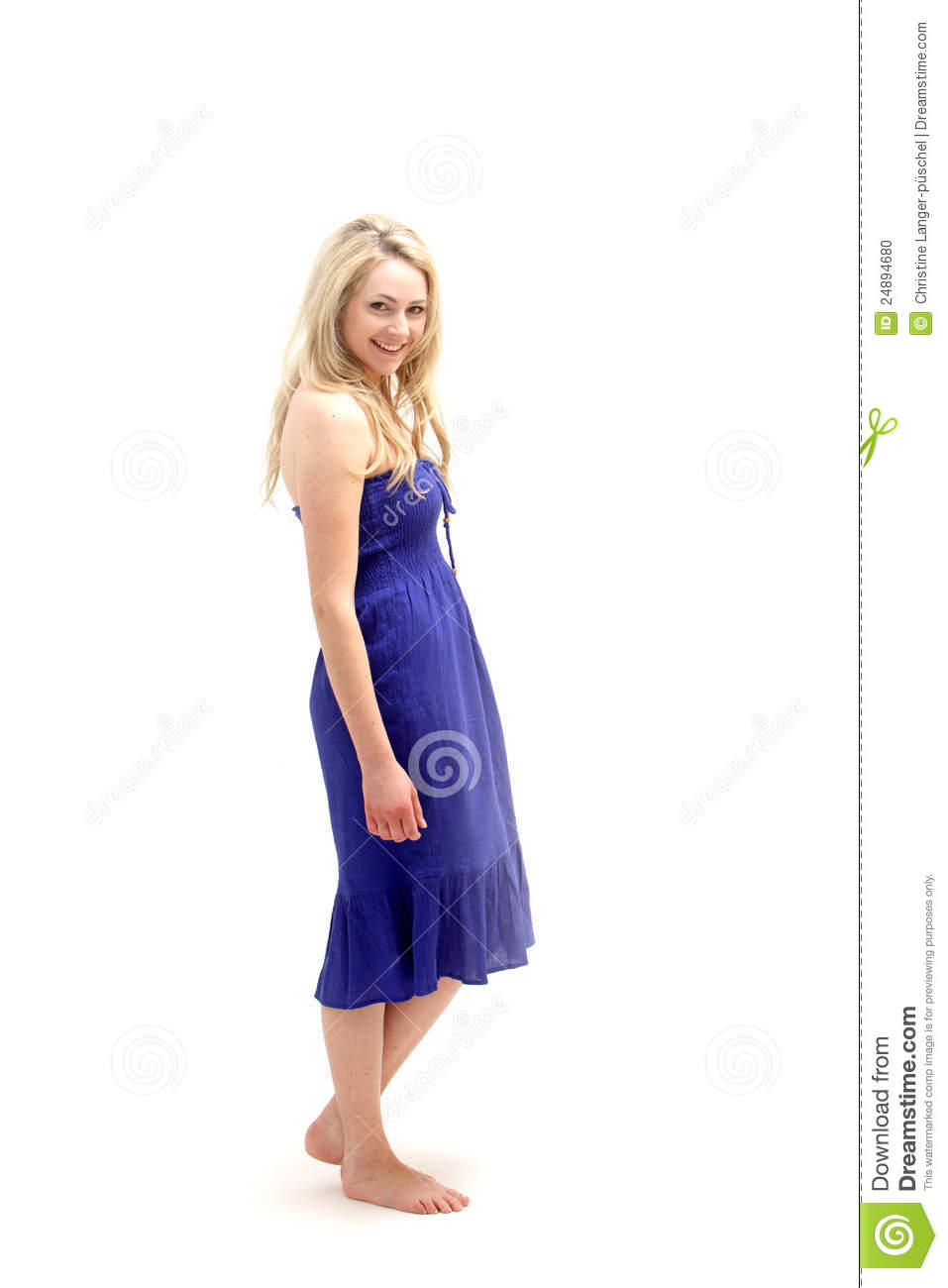 Young Barefoot Lady In Blue Dress Stock Photo Image