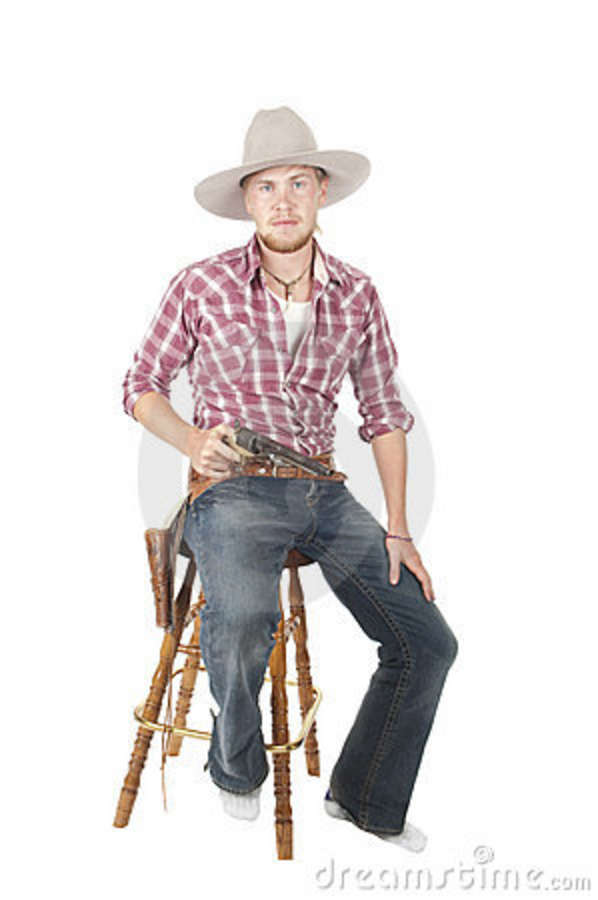 Young Bearded Cowboy Sitting Stock Photo Image Of