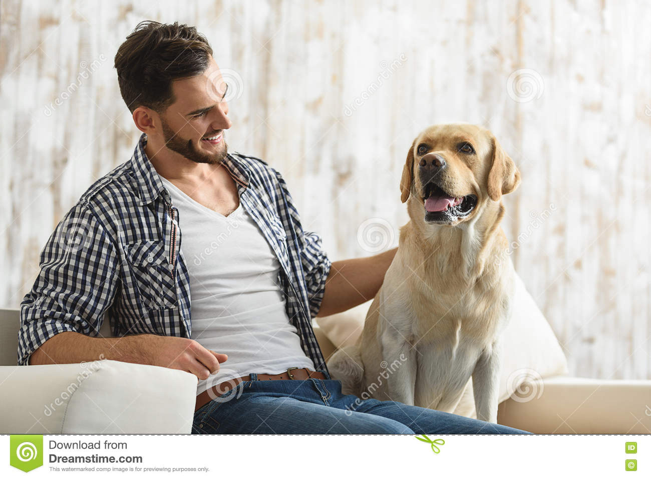 Young Bearded Guy Stroking His Dog Indoors Stock Photo - Image ...
