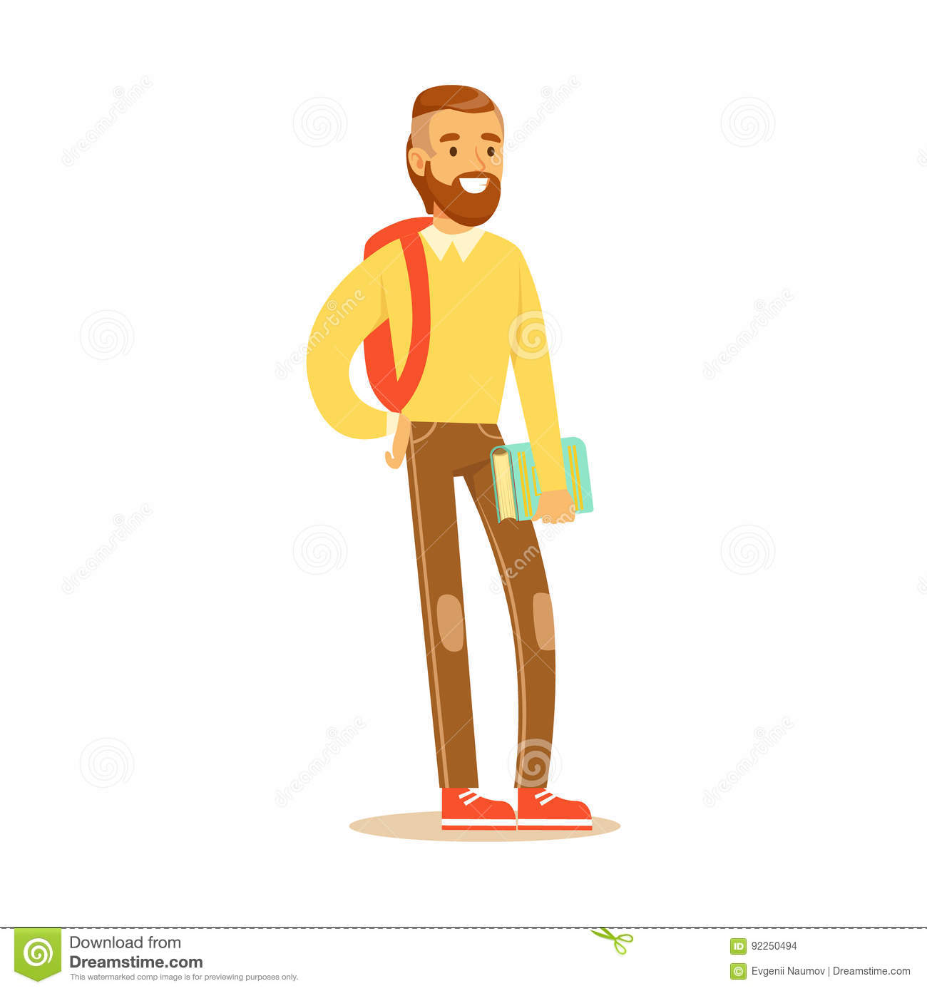 Young bearded man in casual clothes with backpack standing and holding book in his hand. Student lifestyle colorful