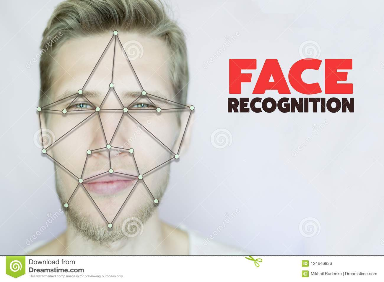 Young bearded man facial and eye recognition concept isolated background