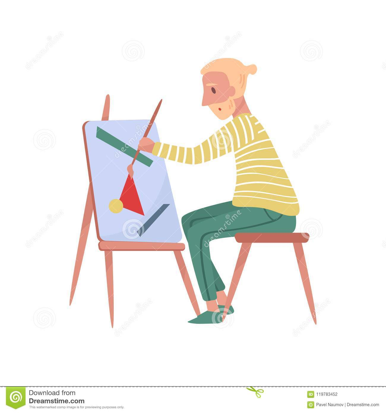 Young bearded man sitting on chair painting on canvas. Professional painter. Talented artist. Flat vector illustration