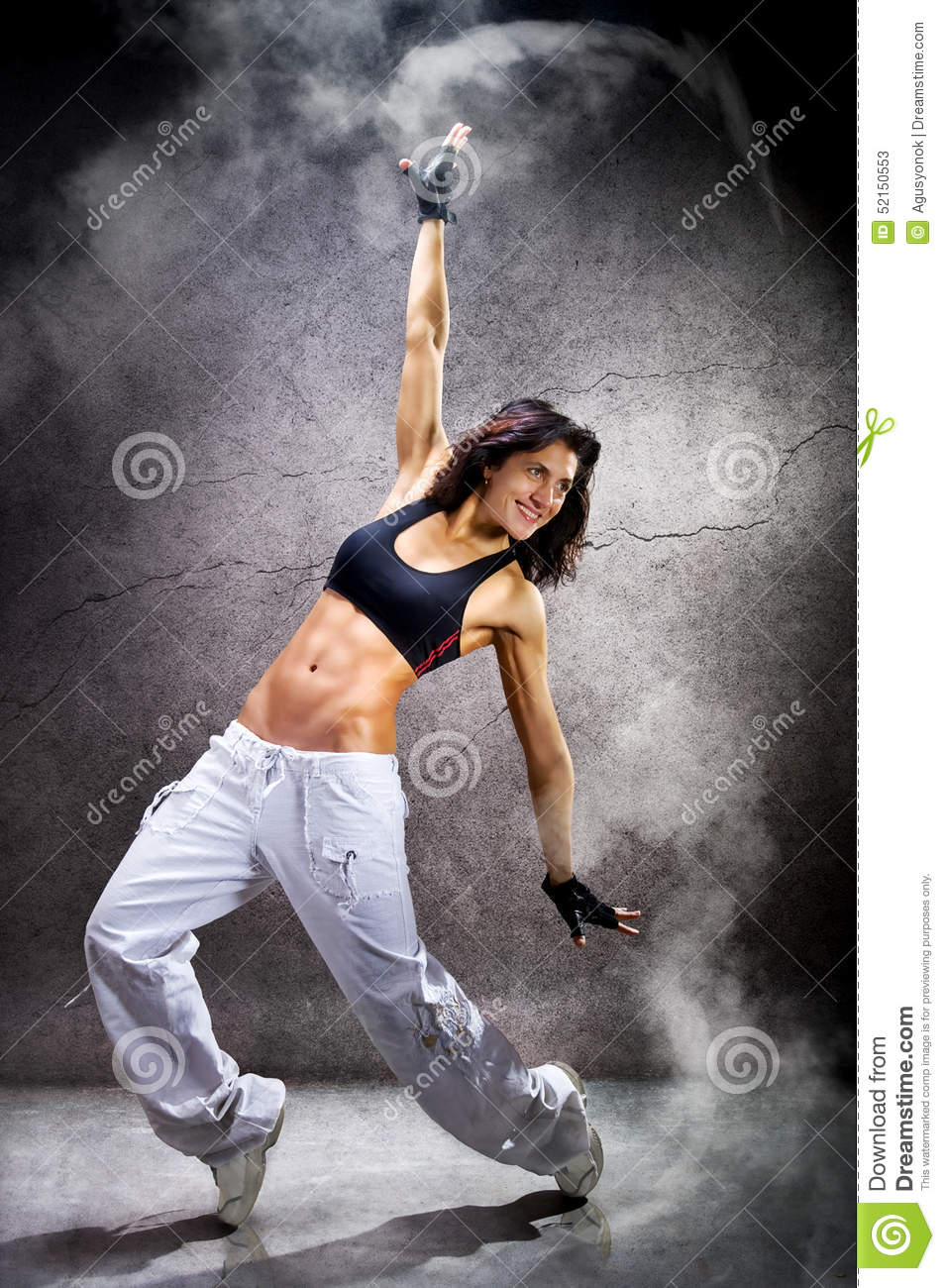 Modern Hip Roof House Plan By Mark Stewart: Young Beautiful Athletic Woman Dancing Modern Dance Hip