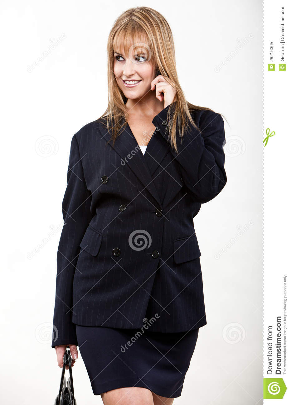 Young and beautiful blond caucasian businesswoman