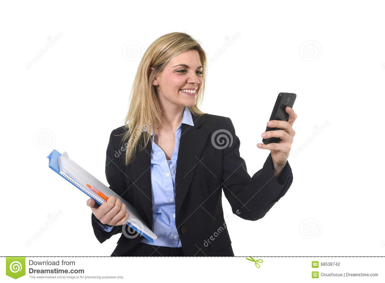 Young Beautiful Blond Hair Businesswoman Using Internet