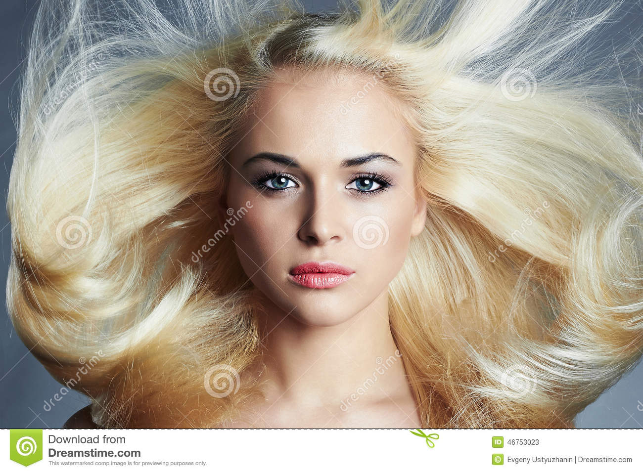 young beautiful blond woman with long hair.pretty girl. beauty salon