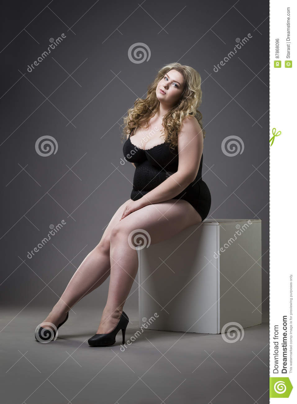 c6335a9ad92 Young Beautiful Blonde Plus Size Model In Shapewear