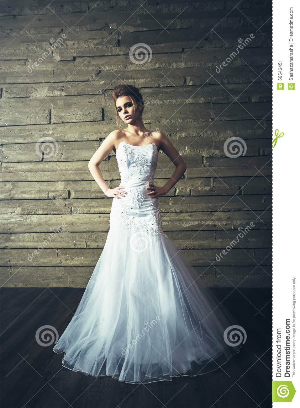 Young Beautiful Bride In White Wedding Dress With Hairstyle And