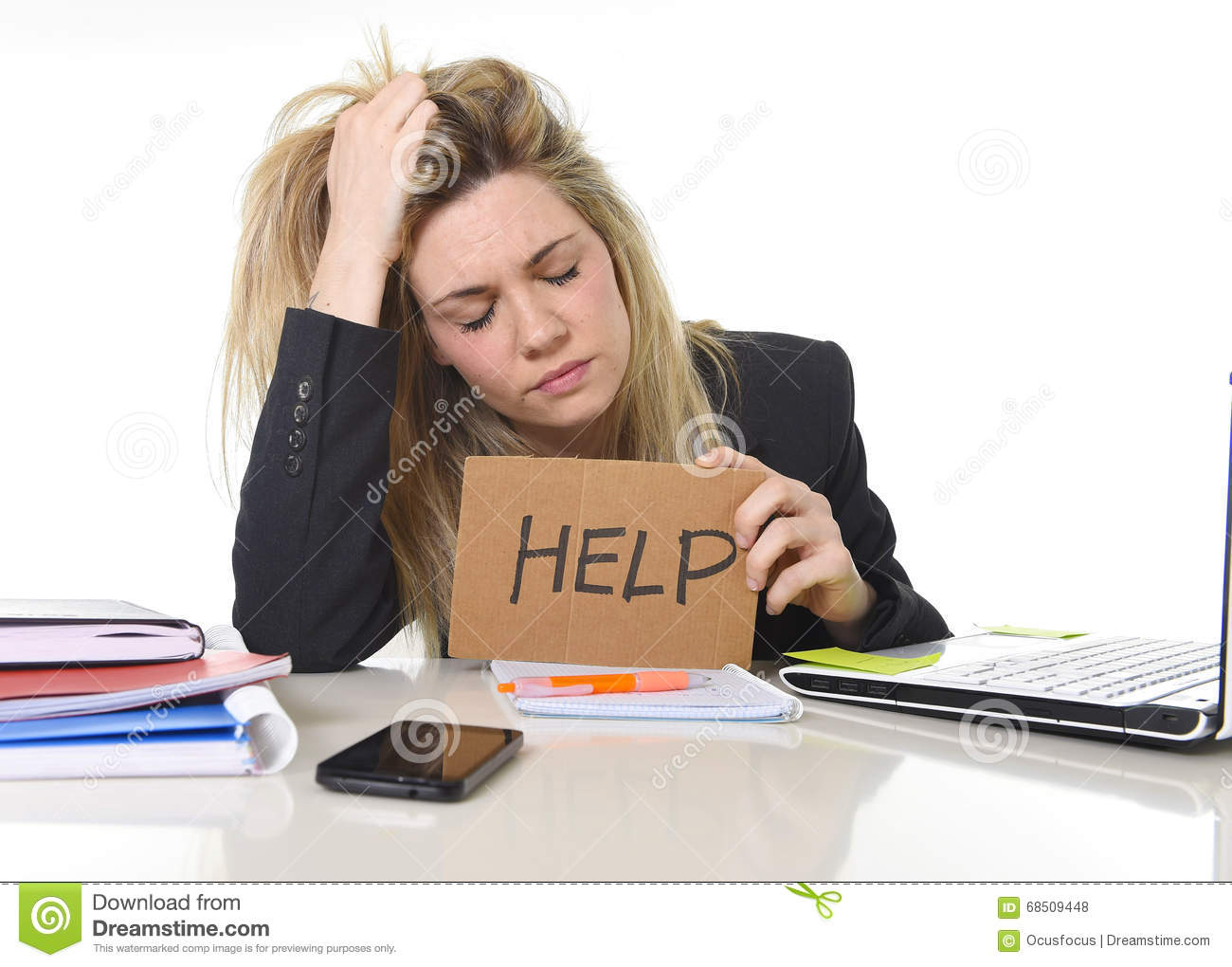 Young beautiful business woman suffering stress working at office asking for help feeling tired