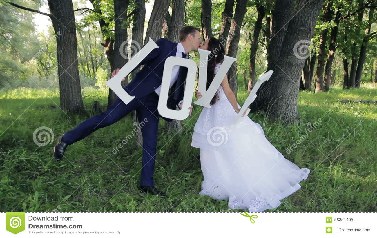 Young Beautiful Couple, Bride And Groom In The Stock Video - Video ...