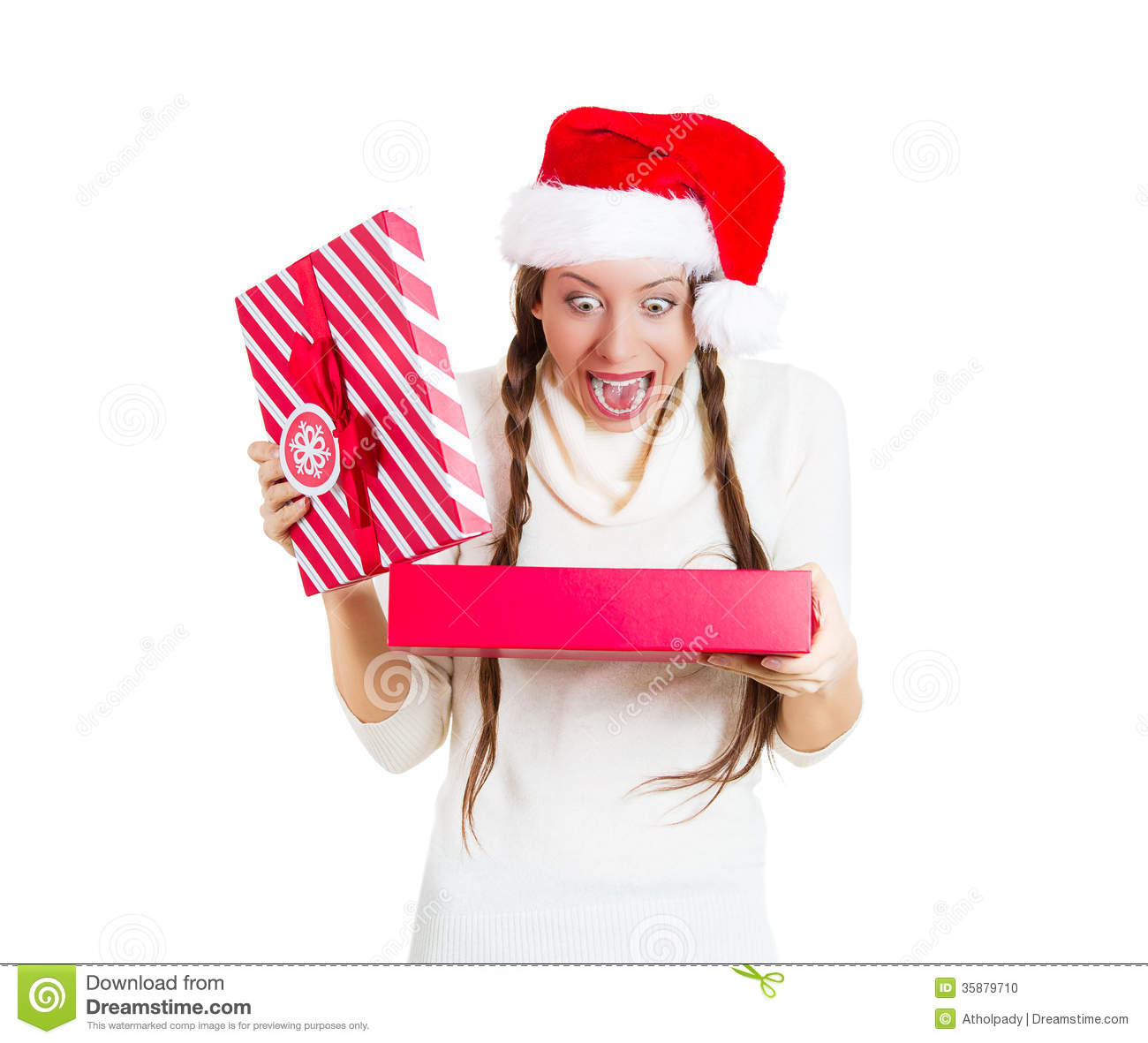 Young Beautiful Excited Woman Wearing Red Santa Claus Hat