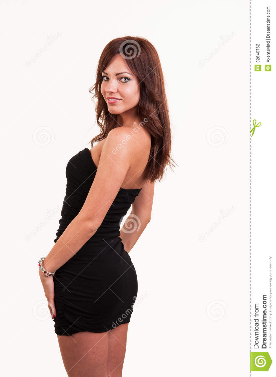 Young Beautiful Female Model In Black Dress Look Over Her Should Stock ...