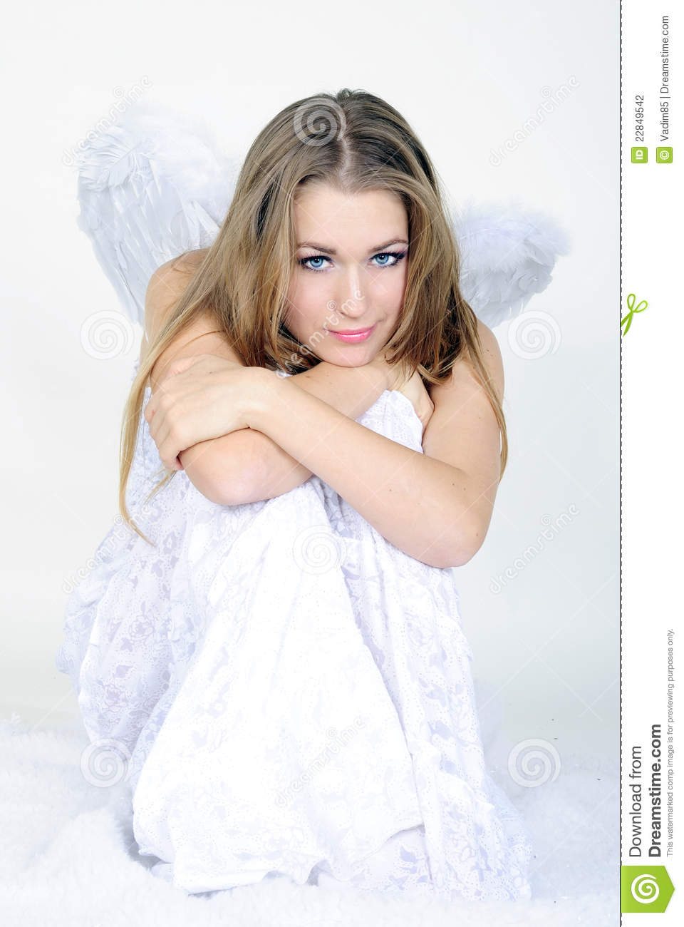 The Young Beautiful Girl An Angel With Wings Stock Photo Image Of