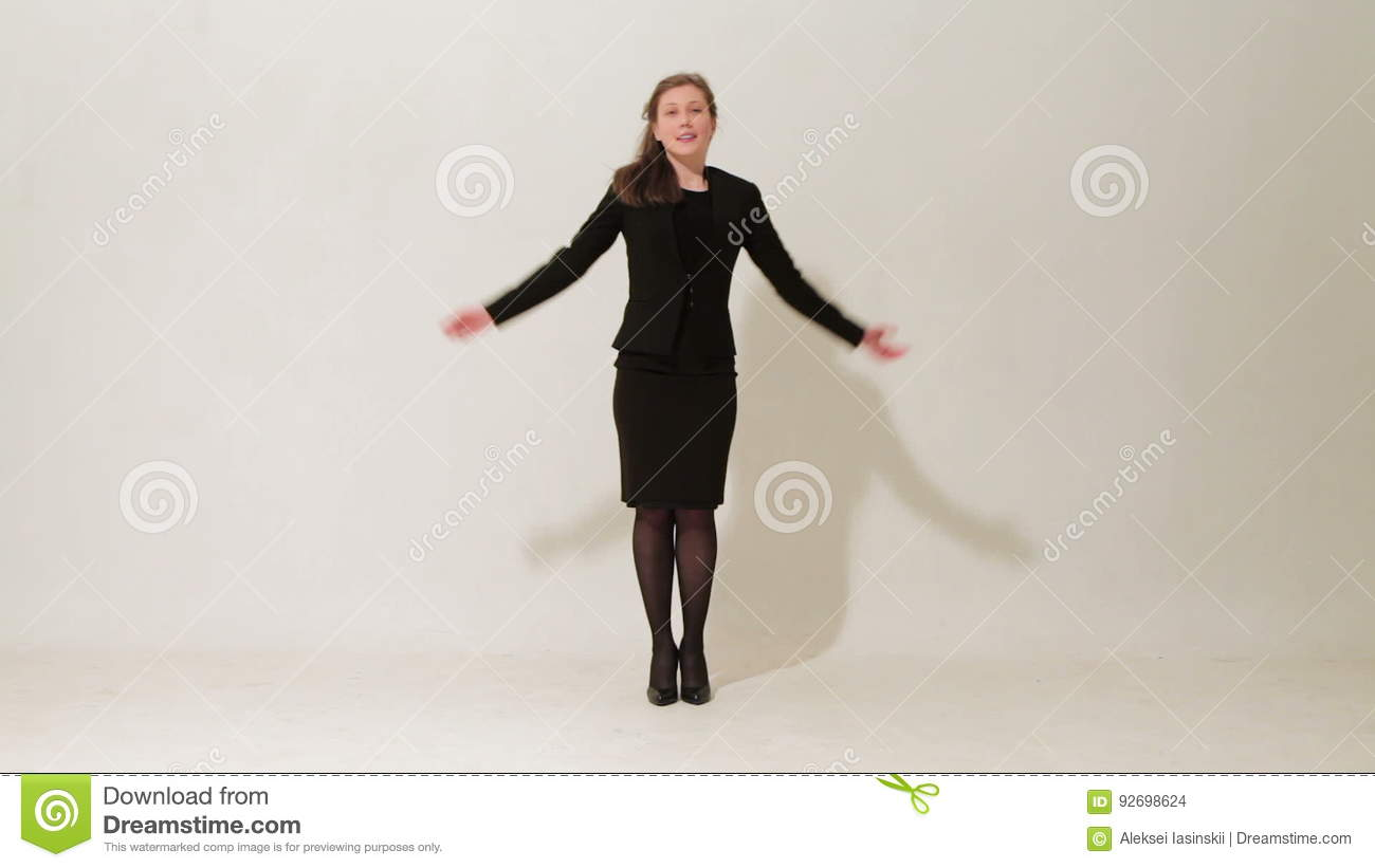 Black dress saying - Young Beautiful Girl In A Black Dress And Shoes Fooling Around And Saying Goodbye On White Background Stock Footage Video 92698624