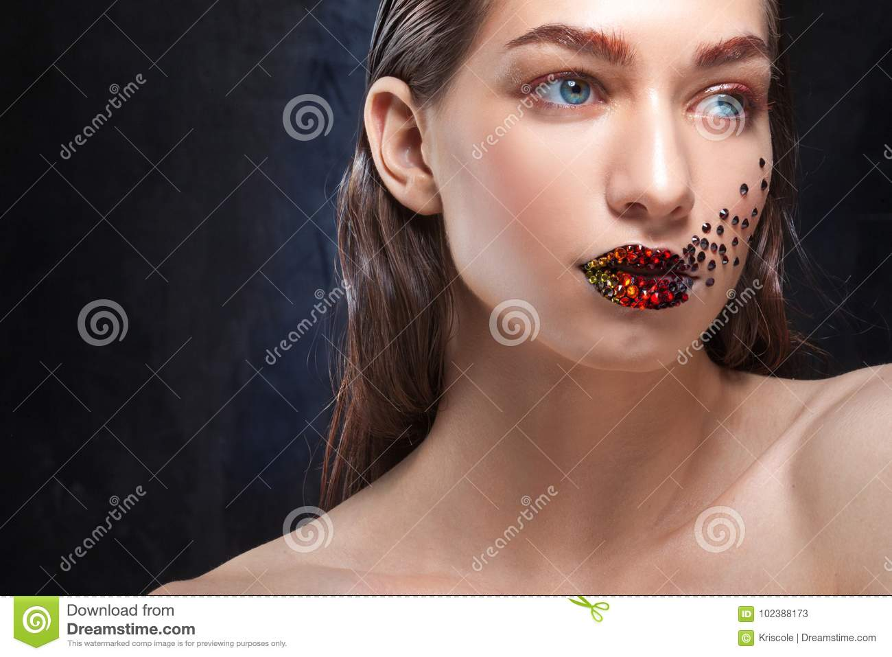 Young Beautiful Girl With Blue Eyes Bright Makeup Red Lipstick