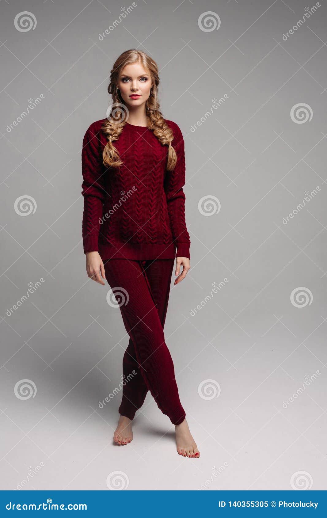 b3336244cd Young Beautiful Girl In Bordo Clothes Posing At Camera. Stock Image ...