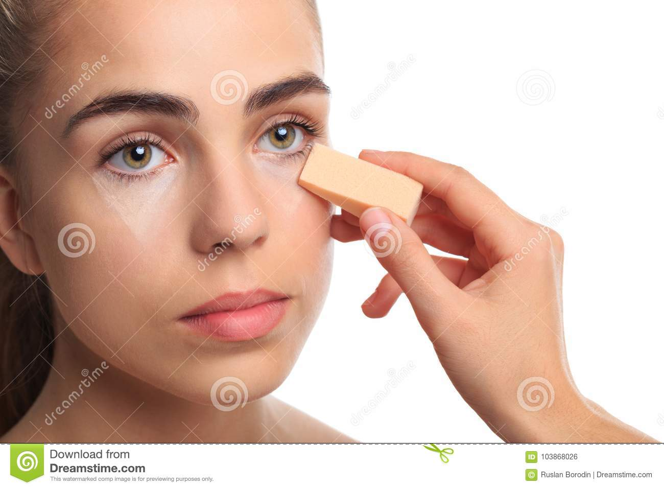 A Girl Is Rattled Under The Eye Contours On A White Isolated