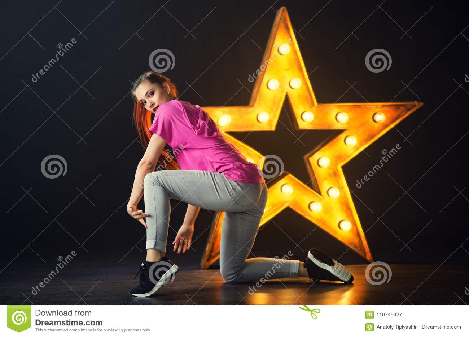 Young Beautiful Girl Dancer Dancing Hip-hop Stock Image - Image of