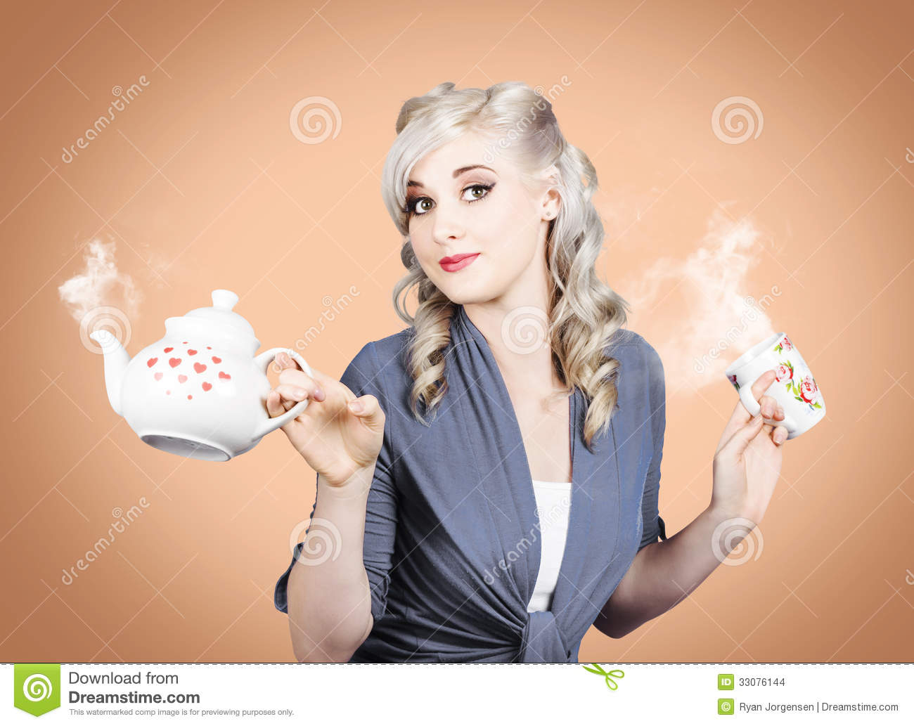 Young Beautiful Girl Drinking Tea Or Coffee Stock Images