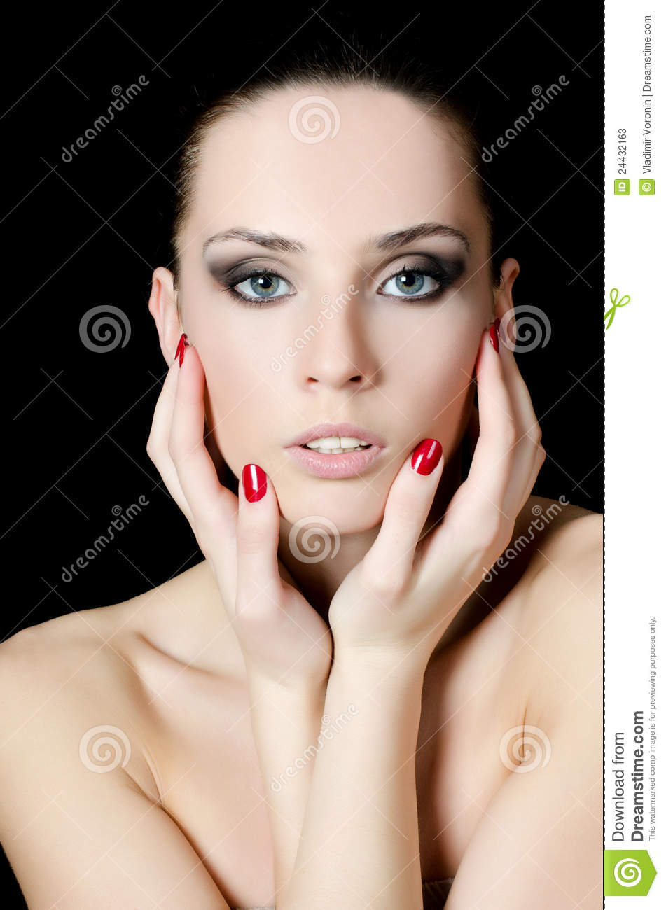 The young beautiful girl with a evening make up stock for What make a beautiful