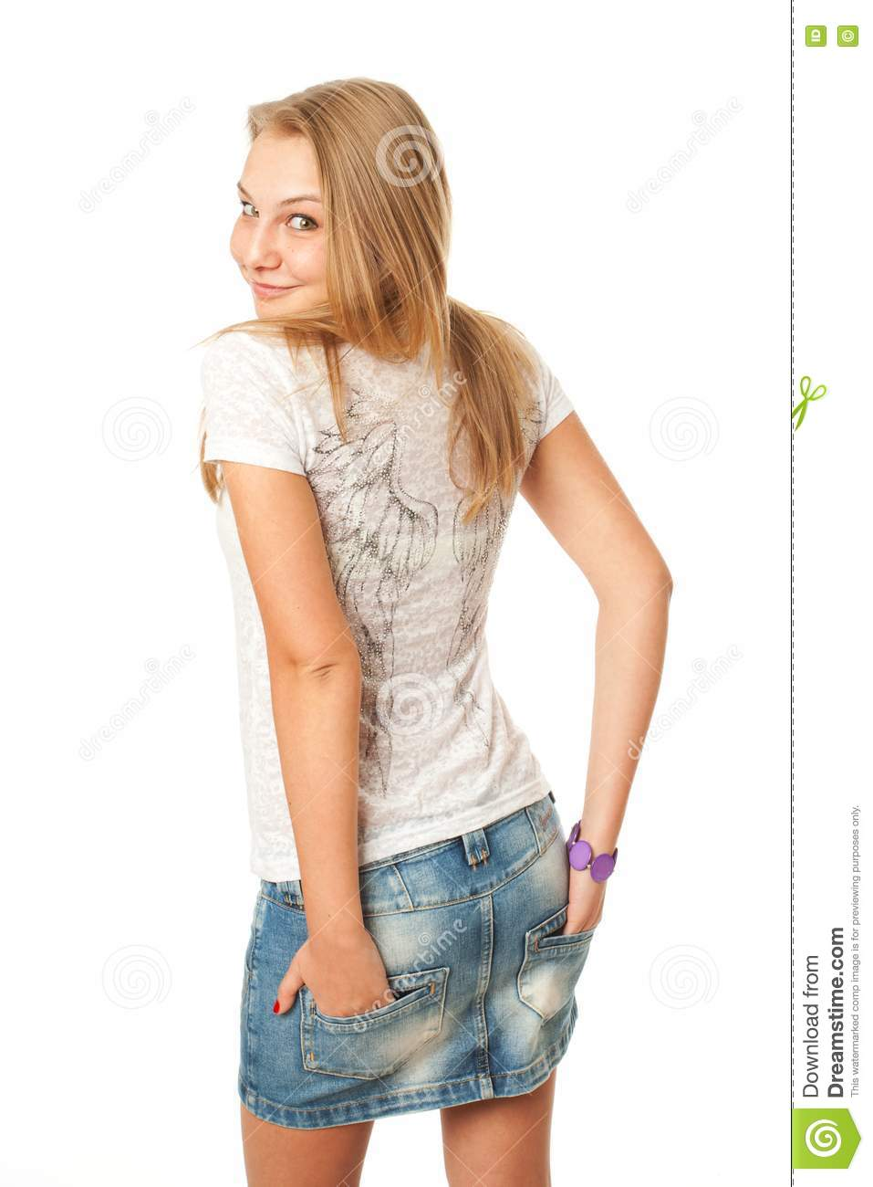 The young beautiful girl isolated on a white royalty free for Teenage beautiful girls