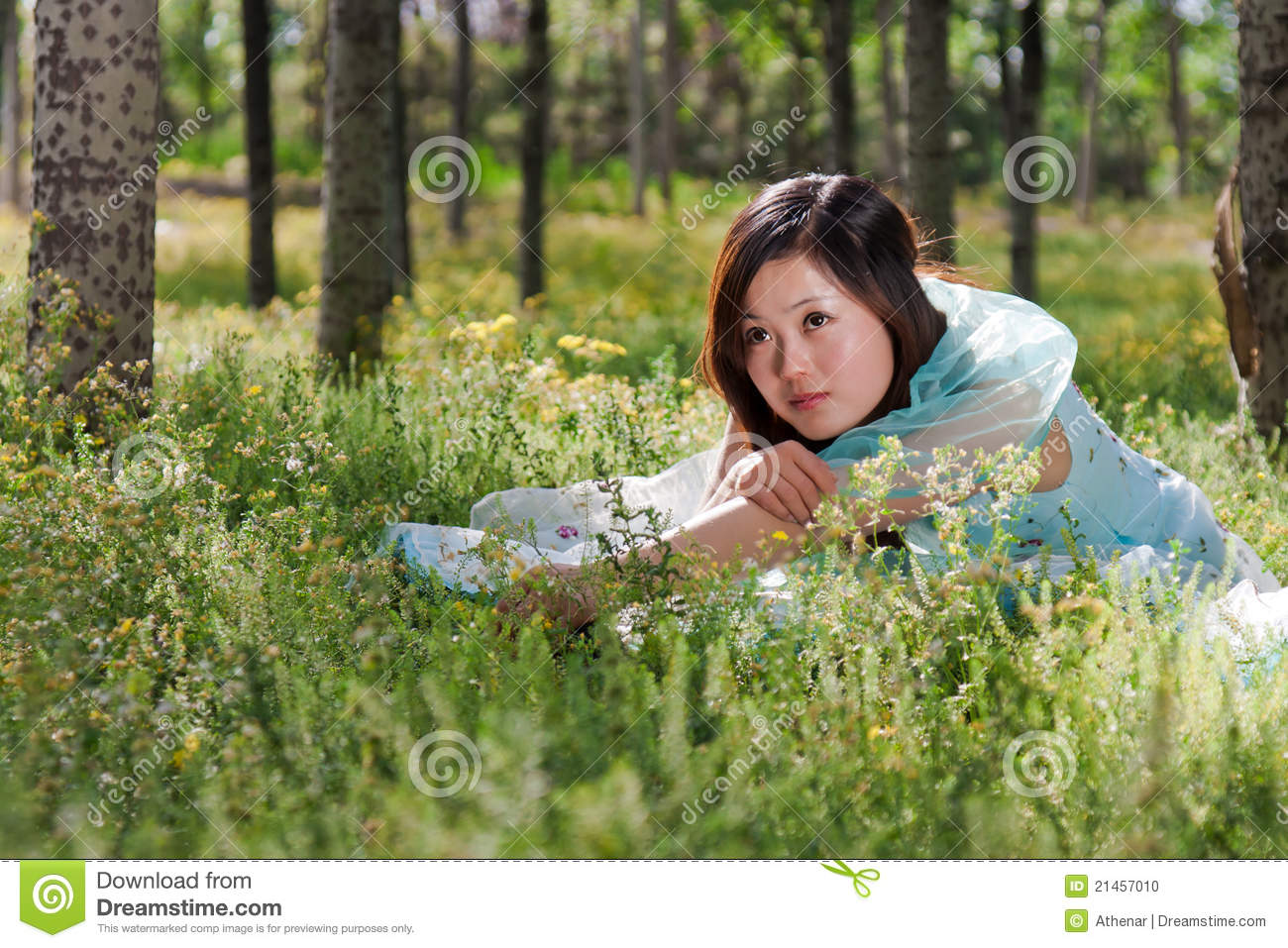 Young Beautiful Girl Laying On The Flowers Field Stock ...