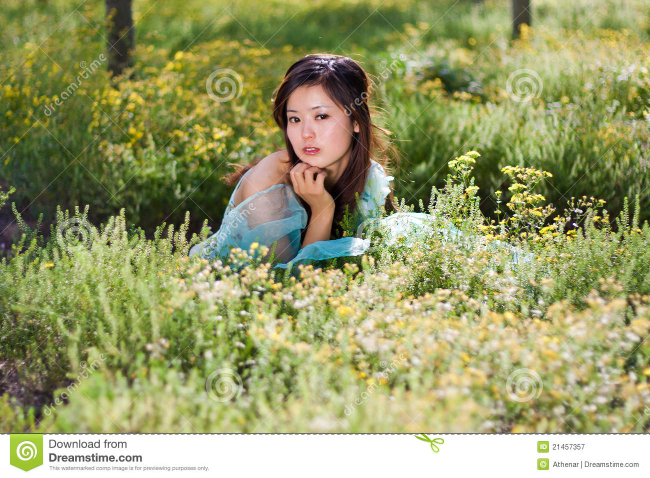 Young Beautiful Girl Laying On The Flowers Field Royalty ...