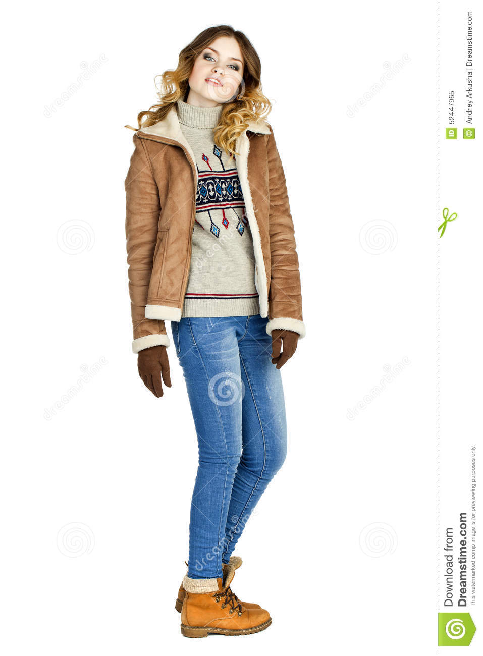 Young Beautiful Girl In A Leather Sheepskin Coat And Blue Jeans ...