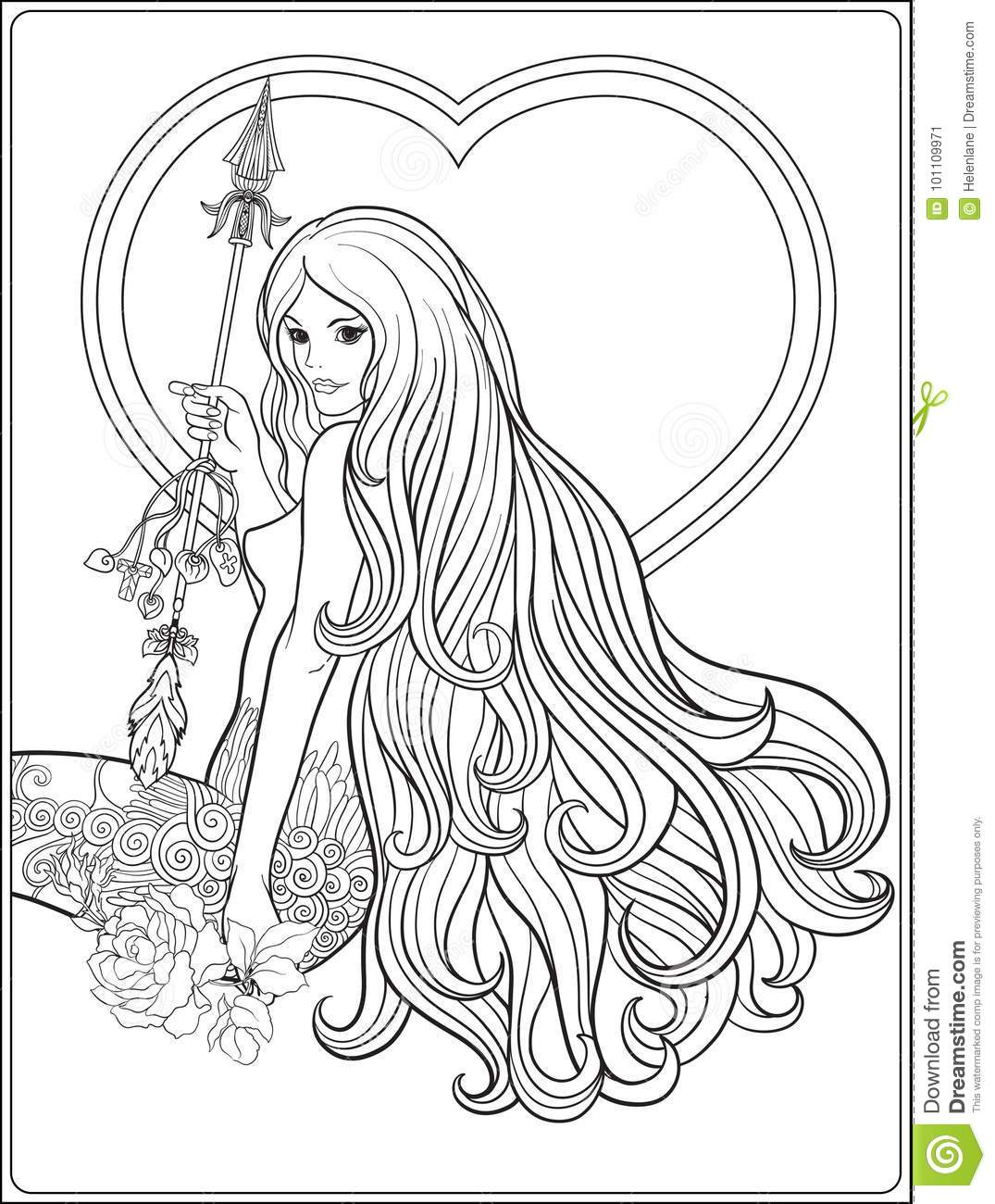 Young Beautiful Girl With Long Hair With Arrow And Roses Stock