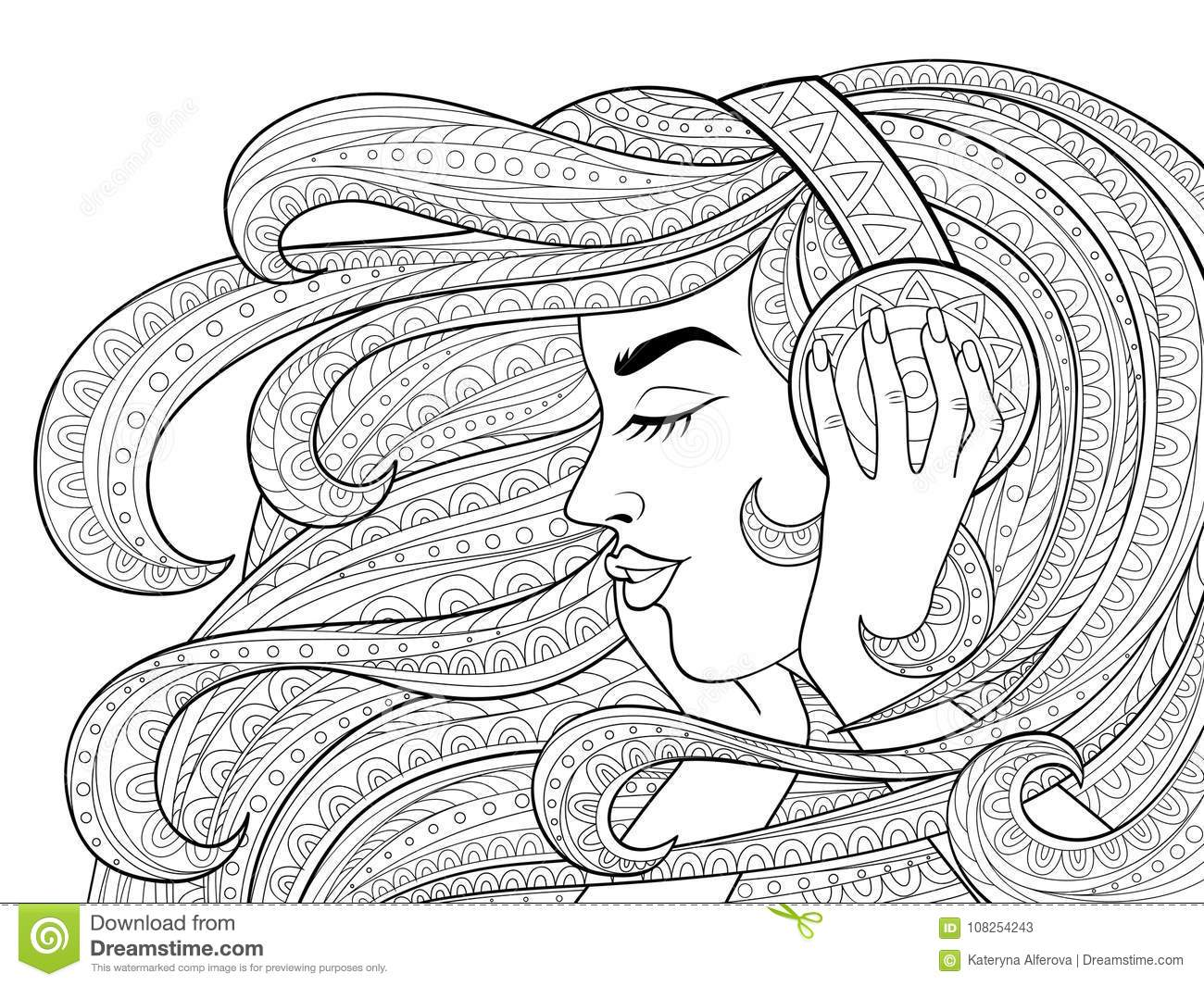 Young Beautiful Girl With Long Wavy Hair Listening To