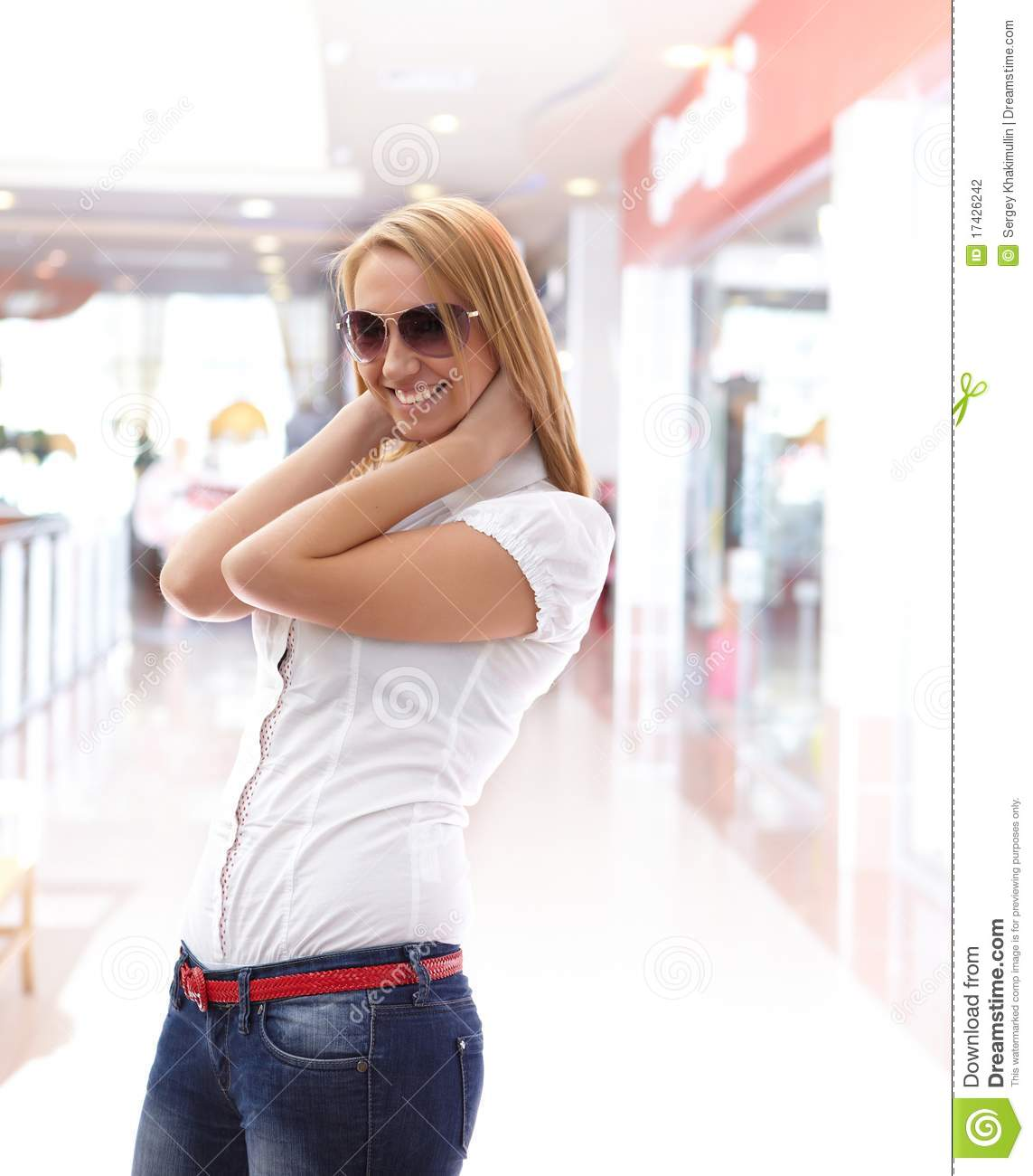 Young Beautiful Girl In The Mall Stock Photo