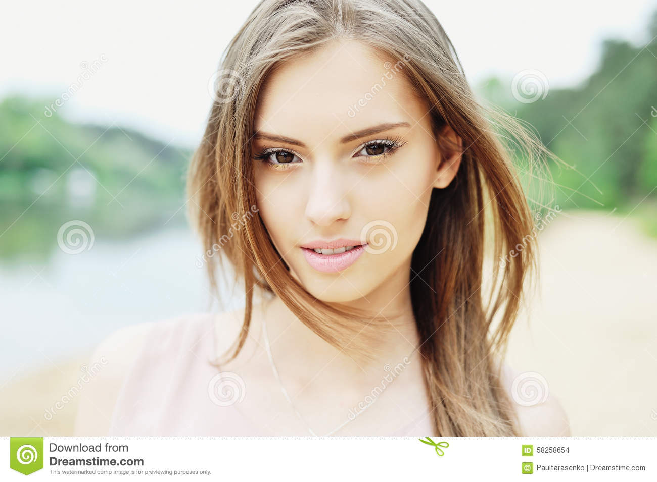 Young Beautiful Girl Outdoor Portrait Close Up Stock Photo