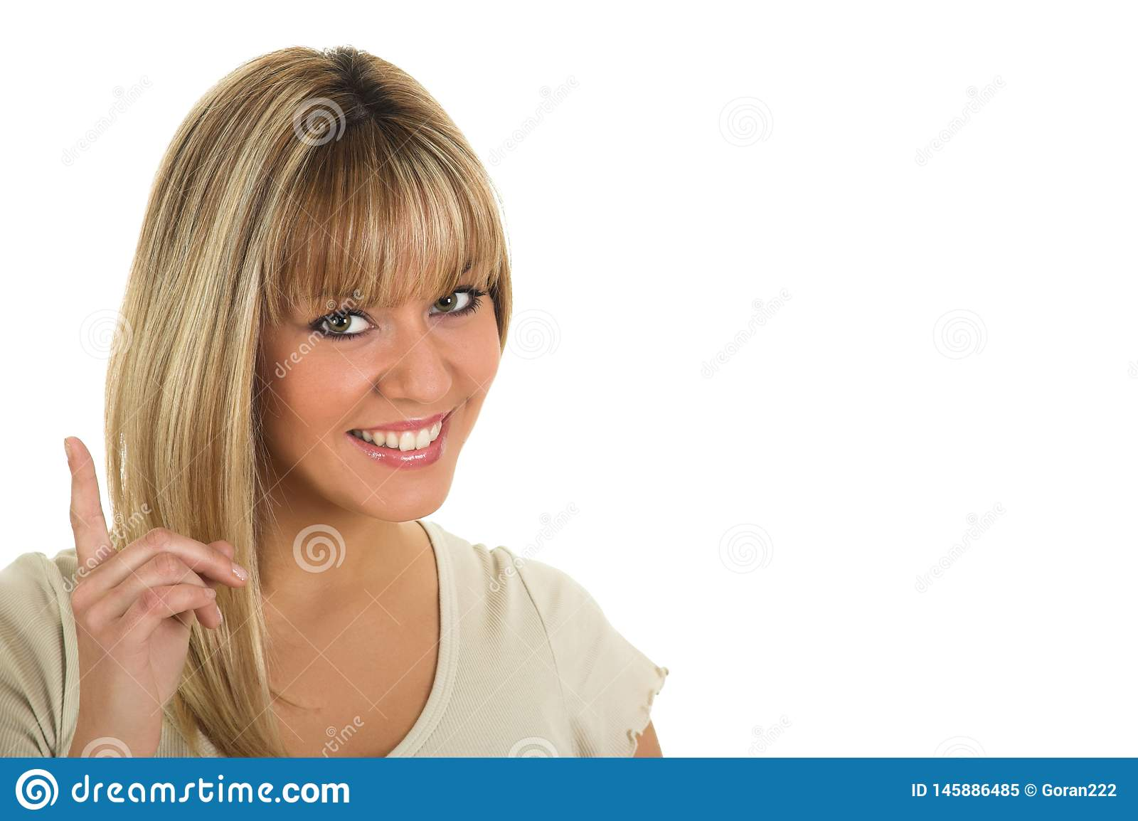 Young beautiful girl pointing finger