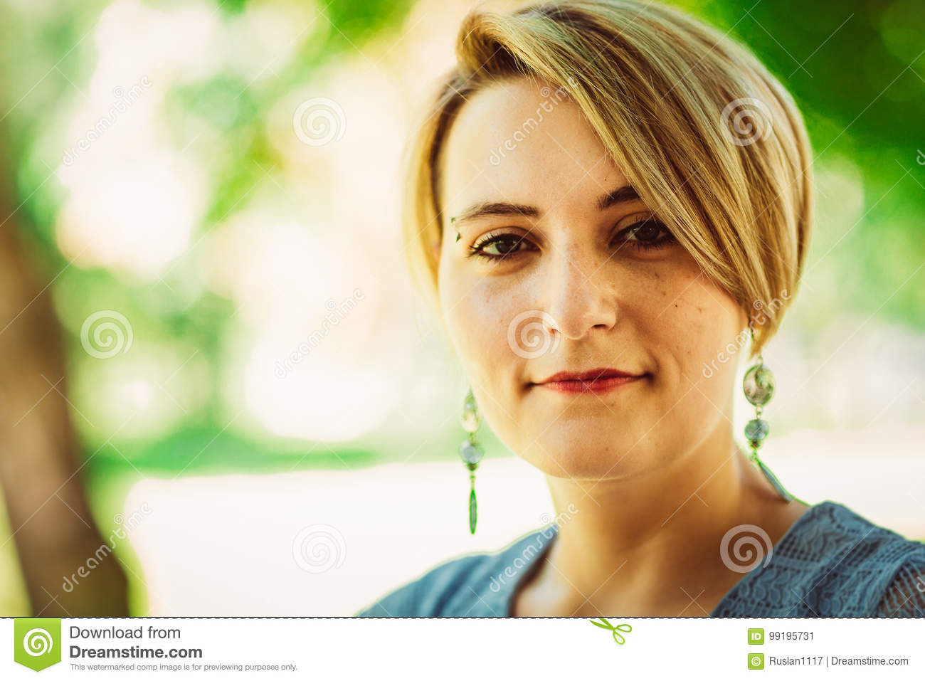Young Beautiful Girl With Short Haircut Stock Image Image Of